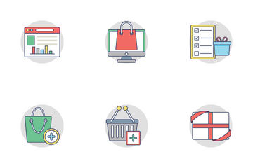 Shopping And Commerce Flat Rounded Icons 2 Icon Pack
