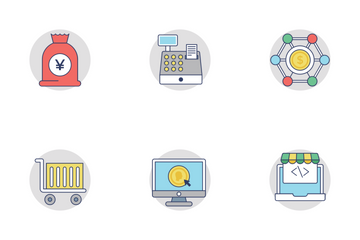 Shopping And Commerce Flat Rounded Icons 3 Icon Pack