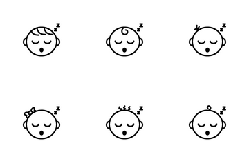 Sleeping Cute Baby Face Icon Pack