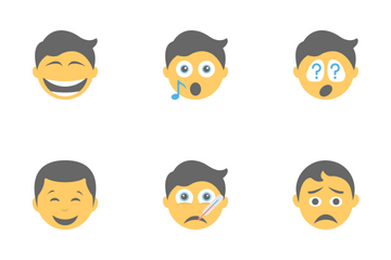 Smileys Flat Icons 5 Icon Pack