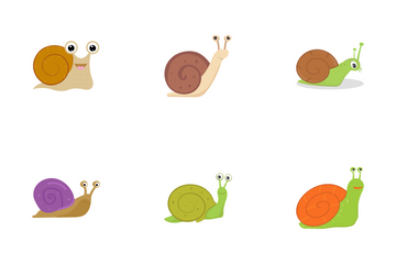 Snail Cartoons Flat Icon Pack