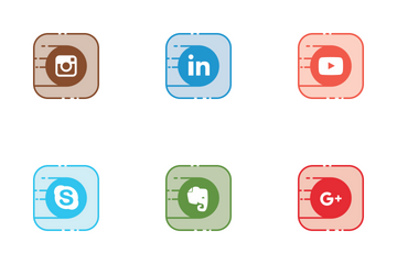 Social Line Filled Icon Pack