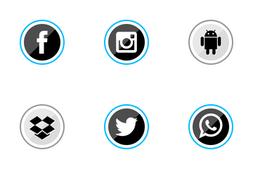 Social Media Circle Blue Icon Pack