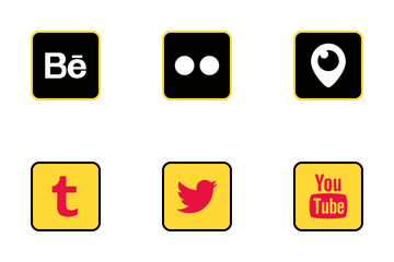 Social Media Colored Outline Vol 2 Icon Pack