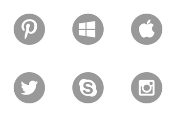 Social Media Grey Round Icon Pack