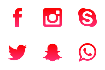 Social Media Red Icon Pack