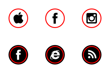 Social Media Red Flat Icon Pack