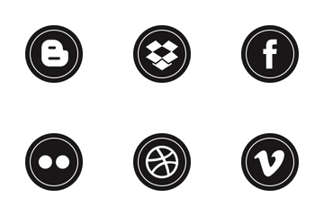 Social Media Round Glyph Icon Pack