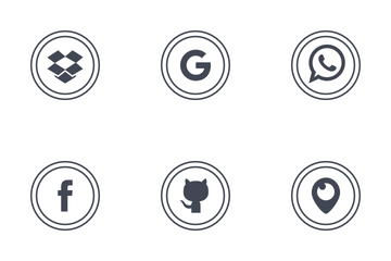 Social Media Round Outline Icon Pack
