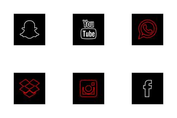 Social Media Square Black Icon Pack