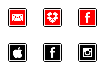 Social Media Square Filled Icon Pack