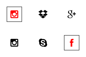 Social Media Square Flat Icon Pack