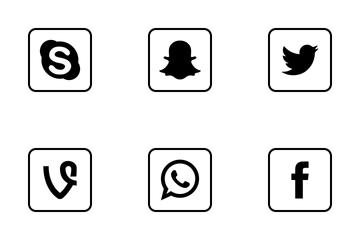 Social Media Square Outline Icon Pack