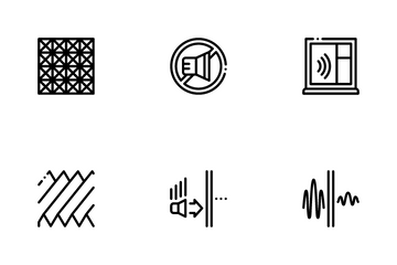 Soundproofing Building Material Icon Pack