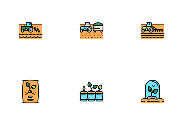 Sowing Agricultural Icon Pack