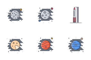 Space Filled Outline Icon Pack