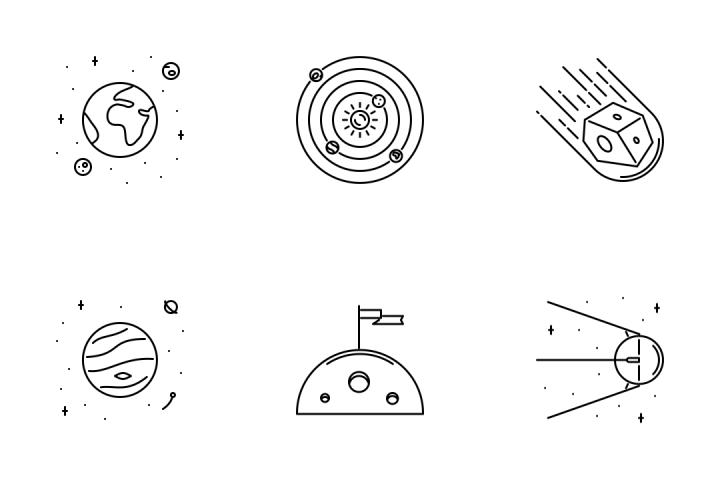 Download Astronomy Line Icon Pack