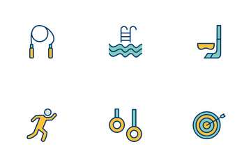 Sport And Games Filled Two Color Icon Pack