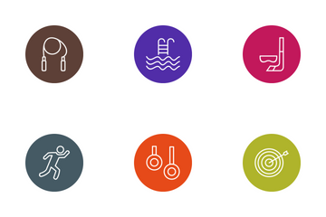 Sport And Games Line Circle Icon Pack