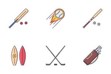 Sport Equipment Filled Outline Icon Pack