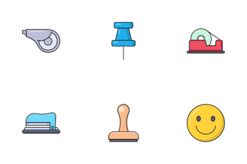 Stationary Desk Icon Pack