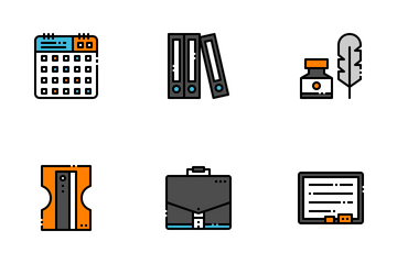Stationary Filled Outline Icon Pack