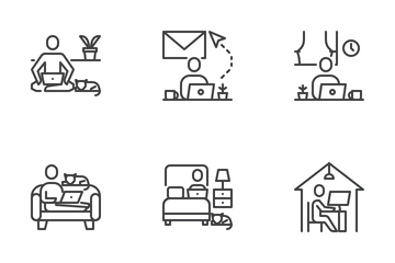 Stay And Work From Home Icon Pack
