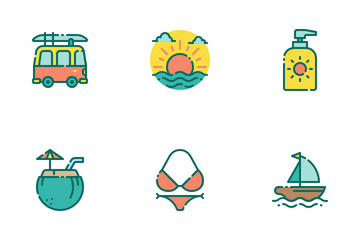 Summer Holiday Filled Outline Icon Pack