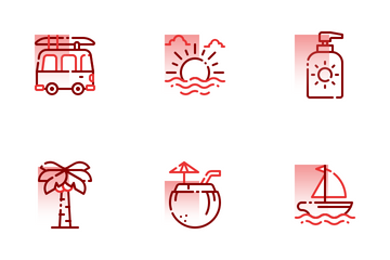Summer Holiday Shape Colors Icon Pack
