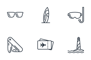Summertime - Line Vector Icons Icon Pack