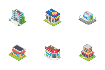 Supermarket, Cafe And Stores Isometric Icon Pack