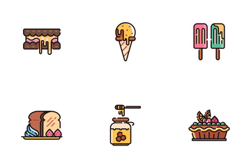 Sweet And Dessert Line Color - Patisserie Icon Pack