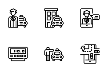 Taxi Service Icon Pack