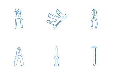 Tools Blue Line Icon Pack
