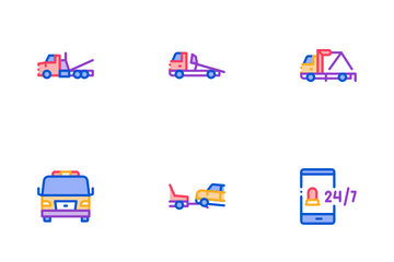 Tow Truck Transport Icon Pack