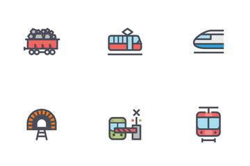 Train And Transportation Icon Pack