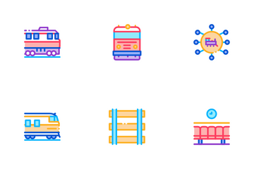 Train Rail Transport Icon Pack