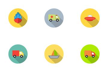 Transport Flat Circle Icon Pack