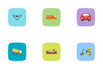Transport Flat Curve BG Icon Pack