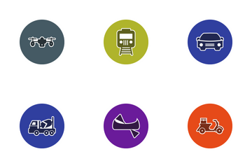 Transport Glyph Circle Icon Pack