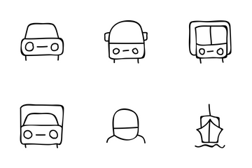 Transport Hand Drawn Doodle Icon Icon Pack