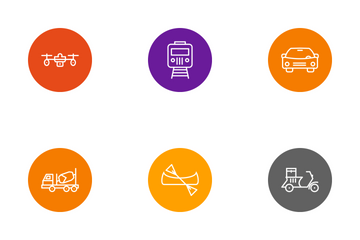 Transport Line Circle Icon Pack