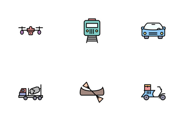 Transport Line Filled Icon Pack
