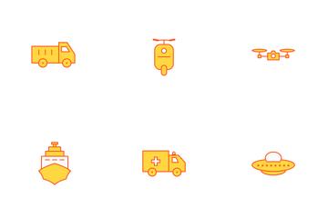 Transport Orange Line Icon Pack