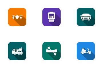 Transport Round Corner Icon Pack