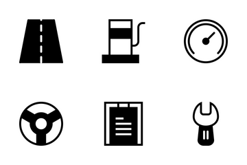 Transportation Glyph Style Icon Pack