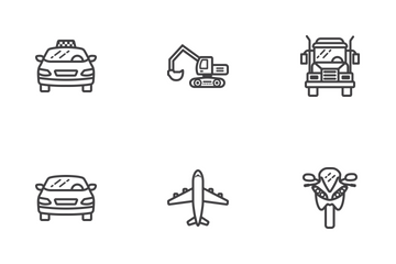 Transportation Line Icons Icon Pack