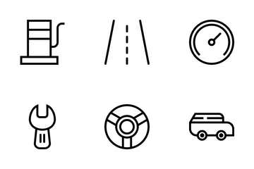 Transportation Outline Style Icon Pack