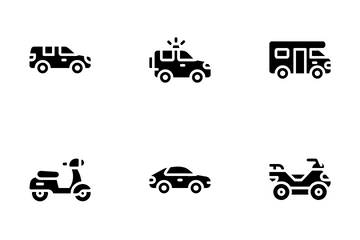 Transportation Vehicle Glyph Icon Pack