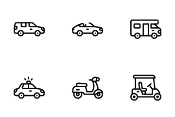 Transportation Vehicle Line Icon Pack